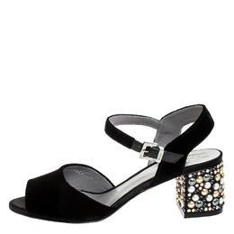 Gina Black Velvet Embellished Block Heel Ankle Strap Sandals Size 38 255811