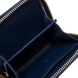 Prada Blue Leather Compact Zip Around Wallet 255708