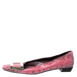 Roger Vivier Pink Python Leather Buckle Detail Ballet Flats Size 37.5 256081