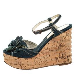 Chanel Blue Denim Camellia Espadrille Cork Wedge Ankle Strap Sandals Size 37.5