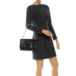 Jimmy Choo Black Leather and Snakeskin Trim Alba Shoulder Bag 255564