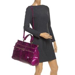Roberto Cavalli Purple Python Doctor Diva Shoulder Bag 253652