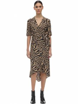 Printed Crepe Wrap Dress Ganni 71IRT7013-MTg10