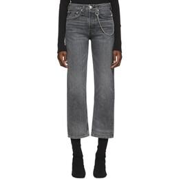 Rag&Bone Black Faded Maya High-Rise Ankle Jeans WDD19H2645O4BF-1