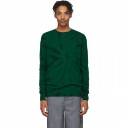 The Elder Statesman Green and Black Cashmere Tie-Dye Sweater 19172