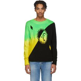 The Elder Statesman Green and Yellow Cashmere Intarsia Sun Sweater 19209