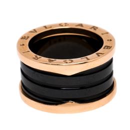 Bvlgari B.Zero1 4-Band Black Ceramic 18K Rose Gold Band Ring Size 51 256438