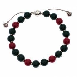 Gucci Red & Green Wooden Beads Silver Adjustable Bracelet 256240