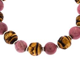 Gucci Bi-color Stone Wood Silver Adjustable Bead Bracelet 255970
