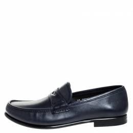 Salvatore Ferragamo Blue Leather Penny Slip On Loafers Size 45 256145