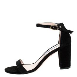 Stuart Weitzman Black Suede Ankle Strap Open Toe Sandals Size 37 255932
