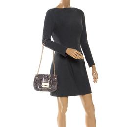 Michael Kors Grey Python Embossed Leather Turnlock Crossbody Bag 255660
