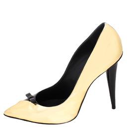 Guiseppe Zannotti Black/Gold Patent Leather Bow Pointed Toe Pumps Size 40 Giuseppe Zanotti Design 255862