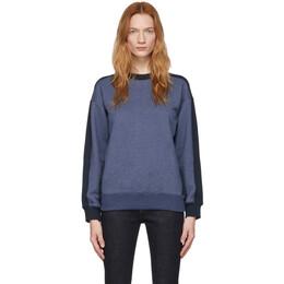 Victoria, Victoria Beckham Blue and Navy Logo Tape Sweatshirt 2120JSS000454A