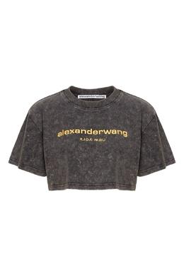 Короткая футболка с неоновым логотипом Alexander Wang 367175865