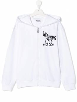 Moschino Kids худи на молнии с логотипом HUF030LDA12