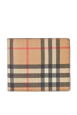 Складной кошелек из хлопка в клетку Vintage Check Burberry 10168361