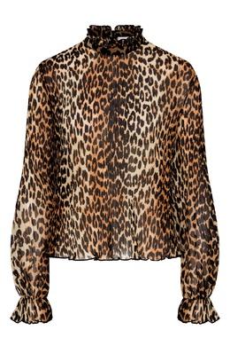 Леопардовая блуза с рюшевым воротником Ganni 2979176369