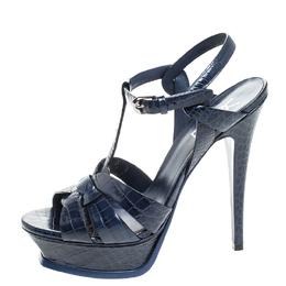 Saint Laurent Blue Croc Embossed Leather Tribute Sandals Size 38.5 255072