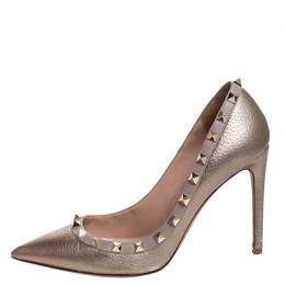 Valentino Metallic Bronze Leather Rockstud Pointed Toe Pumps Size 37.5