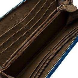 DKNY Beige/Blue Signature Canvas Zip Around Wallet 257066