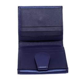 Longchamp Purple Leather Flap Button Compact Wallet 257062