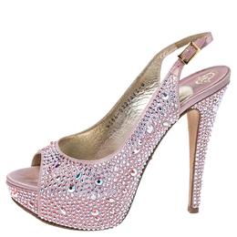 Gina Pink Satin Crystal Embellished Platform Peep Toe Slingback Sandals Size 37 256398