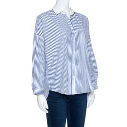 Brunello Cucinelli Bicolor Striped Cotton Beaded Collar Shirt S 257019