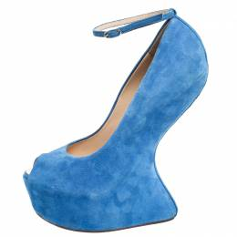 Giuseppe Zanotti Design Blue Suede Heelless Peep Toe Platform Pumps Size 40 257114
