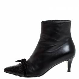 Salvatore Ferragamo Black Leather Velvet Bow Ankle Length Boots Size 37 257430