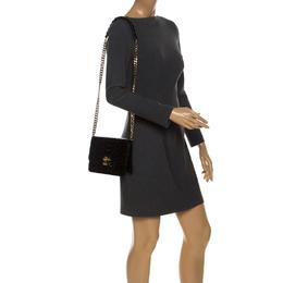 Roberto Cavalli Black Patent Leather Milano Flap Shoulder Bag 256250