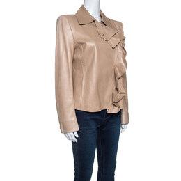 Yves Saint Laurent Beige Leather Ruffle Detail Jacket L 256071