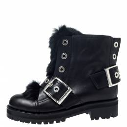 Alexander McQueen Black Leather And Rabbit Fur Eyelet Detail Buckle Ankle Boots Size 40 257059