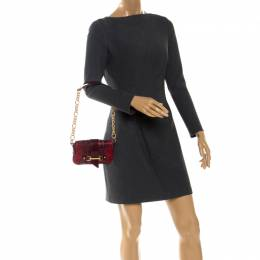 Dolce&Gabbana Red/Black Python Leather Flap Chain Shoulder Bag 256059