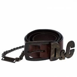 D&G Brown Leather Chain Detail Logo Buckle Belt 95CM Dandg 257120