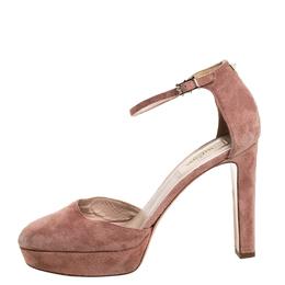 Valentino Beige Suede Leather Platform Ankle Strap Sandals Size 39 256995