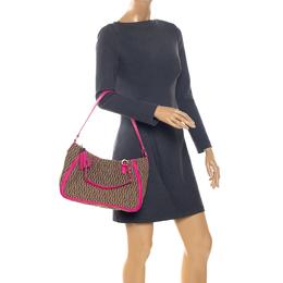 Aigner Pink/Beige Signature Canvas and Leather Tassel Shoulder Bag 256264