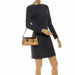 Moschino Gold/Brown Quilted and Snakeskin Embossed Leather Bow Flap Shoulder Bag 256043