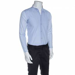 Dior Blue Cotton Contrast Mandarin Collar Button Front Shirt XS 255885