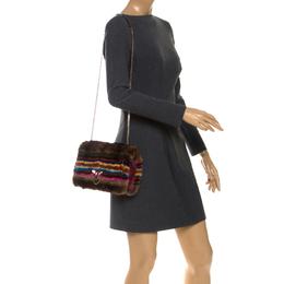 Valentino Multicolor Mink Fur and Leather Chain Shoulder Bag 254967