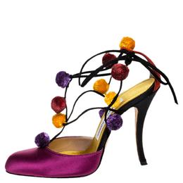 Manolo Blahnik Purple Satin Pom Pom Detail Lace Up Sandals Size 36.5 256445
