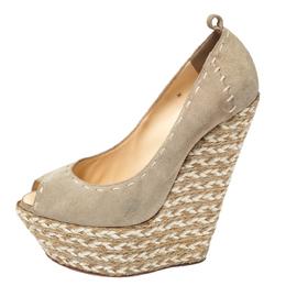 Giuseppe Zanotti Design Beige Suede Leather Peep Toe Wedge Platform Pumps Size 38.5 257145