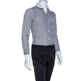 Dior Monochrome Striped Cotton Mandarin Collar Button Front Shirt XS 255890