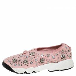 Dior Pink Floral Embellished Mesh Fusion Slip On Sneakers Size 39 256339