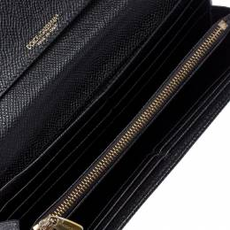 Dolce&Gabbana Black Leather Flap Continental Wallet 256167