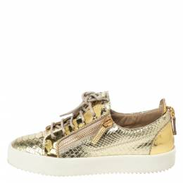 Giuseppe Zanotti Design Metallic Gold Leather Double Zip Lace Up Sneakers Size 38