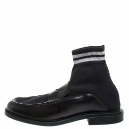 Fendi Black Knit Fabric And Leather High Top Sock Penny Loafers Size 44 257371