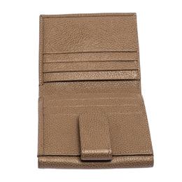 Longchamp Beige Leather Flap Compact Wallet 256958