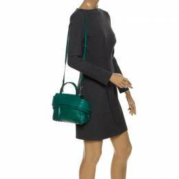 Tod's Green Leather Wave Top Handle Bag 256188