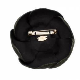 Chanel Camellia Green Suede Pin Brooch 256969